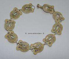 Original altes Art Deco Armband Silber 925 TF Theodor Fahrner vergoldet 21,5cm