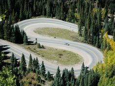 A double hair pin curve between the Engineer Pass turn off and the Ironton Park straight-away along the Million Dollar Highway.