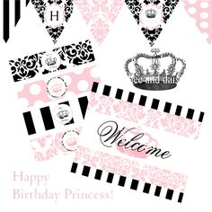 Vintage Princess Full Printable Party Decor for by BeeAndDaisy, $12.00