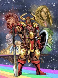 Heimdall: consta que ele é filho de nove donzelas, nove ondas, filhas de Aegir, ou seja, uma orgia. Heimdall é o Deus da Luz, chamado de Deus Reluzente de Dentes de Ouro.
