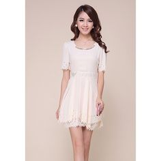 18.27$  Watch here - http://di4lx.justgood.pw/go.php?t=YM5333103 - Refreshing Short Sleeves Openwork Edge Solid Color Women's Dress