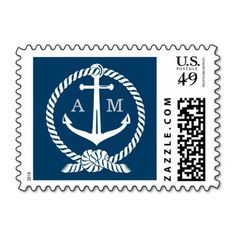 Wedding Postage Stamp | Nautical Monogram Modern preppy nautical wedding postage stamps feature a wedding monogram of the bride and groom's first name initials. Navy blue, light gray / silver, and white color scheme.Additional color scheme and design options are available at The Plush Paper Design Shop. #wedding #theme #stripe #nautical #monogram #anchor #rope #knot #boat #preppy #template #stylish #design #custom #navy #blue #white...