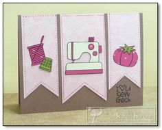 """kth_valentine_loveusewmuch """"hanging ribbon"""" paper with art on each one. I also like the cute-pun text Flag Tag, Cute Puns, Sewing Cards, Paper Smooches, Sewing A Button, My Stamp, Loving U, Homemade Cards, Quilting Designs"""