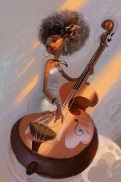 YES!!! finally a painting who represents who i am, a bass player who lives for music and of course.................. CURLY FRIZZY HAIR!!!!