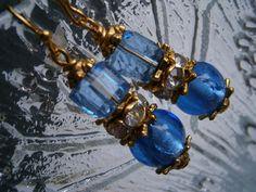 Ohrringe,blau,goldfarben+von+kunstpause+auf+DaWanda.com