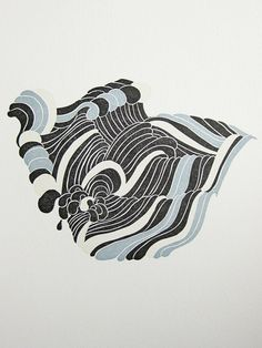 Wave Linocut Print by TigerFoodPress on Etsy, $12.00