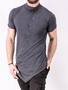 K&B Men Moved Buttons Mock Neck T-shirt - Heather Gray asymmetrical Indian Men Fashion, Mens Fashion, Best Casual Shirts, Men Closet, Kurta Designs, Looks Style, Workout Shirts, Menswear, Men Casual
