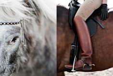 Knee-high riding boots in a rich chestnut brown. CHECK OUT the rare dappled brown coat on the horse! Gorgeous!