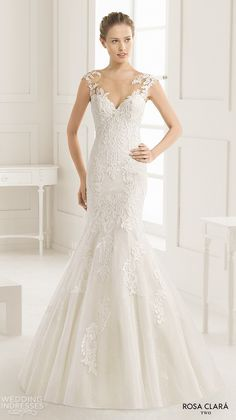 rosa clara two spring 2016 cap sleeves illusion boat sweetheart neckline embellished bodice elegant trumpet lace wedding dress lace back sweep train eysa mv