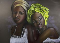 """""""Mia et Lilou"""" Pastel sec sur pastelcard : Peintures par tendances-ethniques-creations"""