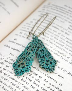 Antique Gold Filigree Verdigris Patina Earrings  by belleonabudget