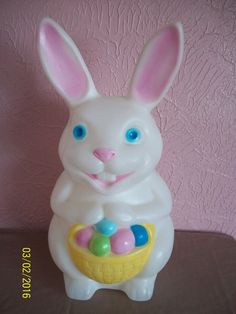 "Vintage Blow Mold Easter Bunny Rabbit White Eggs Basket 22"" Tall No Light Cord"