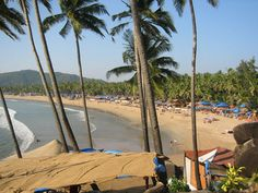 Picturesque Palolem Beach, enclosed by a thick forest of coconut palms in far south Goa Goa Travel, Travel Destinations, Goa India, Need A Vacation, Incredible India, Beach Photos, Travel Essentials, Beautiful Beaches, Travel Guide