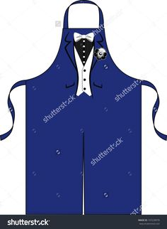 Apron for the waiter with the drawn suit with a butterfly and a flower