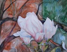 Magnolien Blüten als Frühlingsboten (c) Aquarell von Frank Koebsch | Magnolien Blüten (c) Aquarell von Frank Koebsch