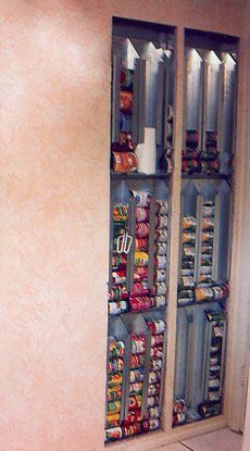 """*LOVE* this!! no """"room"""" for food storage?? NO PROBLEM!! Use the space between your wall studs!! Toss on a cabinet door --WALAA!!! :)"""