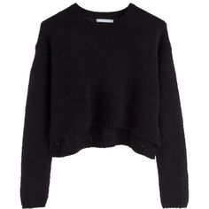 PC Colette knit sweater ❤ liked on Polyvore featuring tops, sweaters, shirts, jumpers, crop top, collared shirt, cropped knit sweater, black collared shirt e ribbed sweater