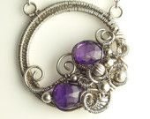 Purple AAA Amethyst Gemstone and Sterling Silver Sculpted Necklace Gemstone Circle