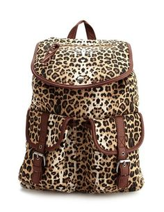 Leopard Print Canvas Backpack: Charlotte Russe I WANT THIS!!!!!