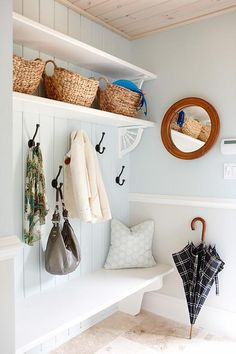 Mudroom: shelf with decorative brackets, two-prong hooks, bench (Sarah Richardson Design) Sarah Richardson, Interior Design Inspiration, Home Interior Design, Blue Wall Colors, Paint Colors, Halls, Entry Hall, Home Projects, Decoration