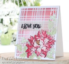 Altenew Majestic Bloom stamps and dies with Layered Plaid dies