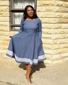If you're out of ideas and need to understand more about latest style African Lesotho shweshwe Dresses then this post is for you. Couples African Outfits, African Dresses For Kids, Latest African Fashion Dresses, Traditional Dresses Images, South African Traditional Dresses, Traditional Weddings, African Wedding Attire, African Attire, Xhosa Attire