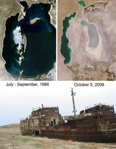 The images are absolutely mystifying: how did these gigantic tankers get out into the desert, and why? The abandoned ships for which the Aral Sea is so famous once floated on plenty of water, but that water steadily dried up ever since the rivers that fed it were diverted for Soviet irrigation projects in the 1960s. Once the fourth-largest inland body of salt water, the Aral Sea is now 10% of its former size, annihilating the region's formerly prosperous fishing industry.