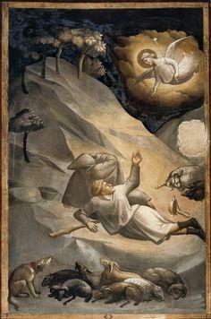 Taddeo Gaddi, Annuncio ai pastori (Annunciation to the Shepherds), 1328-1330 c., Firenze, Basilica di Santa Croce, Cappella Baroncell