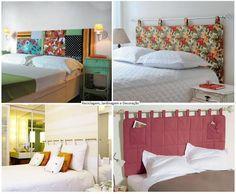 Cabeceira de cama com varão de cortina