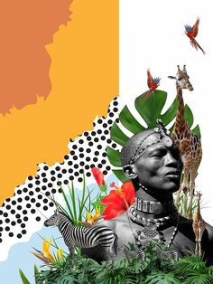 Collage Portrait, Collage Artwork, Collage Artists, Collages, African Art Projects, Surrealist Collage, Simple Collage, Art Africain, Collage Design