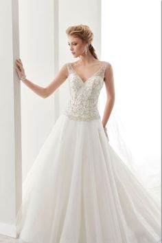 Ruby- V neck dropped waist A-Line dress with beaded top and tulle skirt.