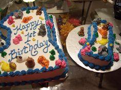Happy 1st Birthday cake with matching baby smash cake