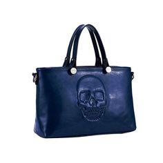Mechaly Women's Skully Blue Vegan Leather Skull Handbag