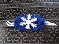Navy blue shabby flower snowflake headband...Perfect to go with my new sweater!!