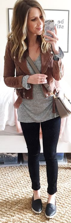 awesome spring outfits /  Brown Suede Jacket / Grey Tee / Black Skinny Jeans / Black Leather Loafers