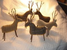 My wool and scrap upholstery sample reindeer