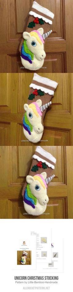 Unicorn Christmas Stocking crochet pattern