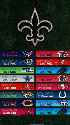 2019 New Orleans Saints Android & I-Phone Wallpaper Schedule.