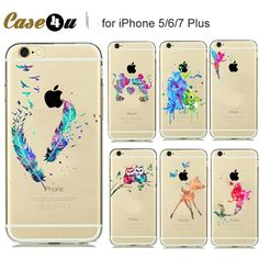 New Watercolor Art Snow White Cinderella Mermaid Silicone Case for coque iphone 7 7plus 6 6S plus 5 5SE Phone Cases Mickey Mouse