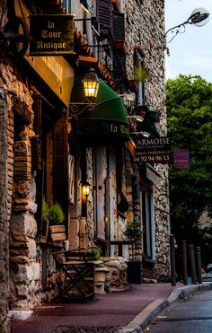 Dusk on a French street in Antibes, France.