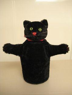 Steiff Vintage Black Tom Cat Hand Puppet.