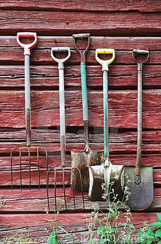 This reminds me of the farm I grew up on with the weathered red buildings. Country Farm, Country Life, Country Living, Country Style, Storing Garden Tools, Vie Simple, Farm Tools, Free Art Prints, Farms Living
