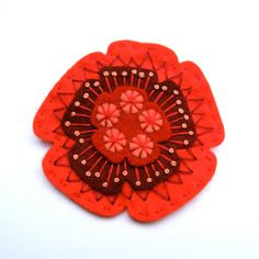 POPPY felt brooch pin with freeform embroidery - scandinavian style