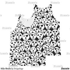 Black and white skulls tank top halloween, goth clothes, spooky shirts, Scary Halloween Images, Goth Clothes, Skull Tank Tops, Funny Tank Tops, Funny Design, Skulls, Black And White, Shirts, Women