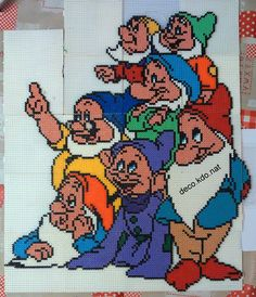 Seven Dwarfs hama beads by Deco.Kdo.Nat - Pattern: https://de.pinterest.com/pin/374291419014530335/