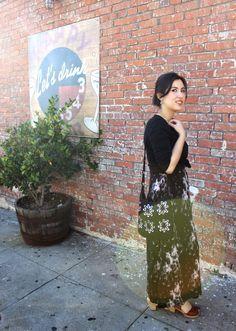 Tie-Dye Dress, black sweater and Clogs. Eagle Rock, Los Angeles, CA.