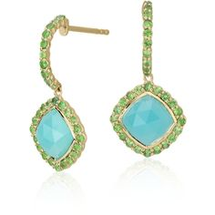Blue Nile Frances Gadbois Aqua Chalcedony and Tsavorite Halo Earrings ($1,185) ❤ liked on Polyvore