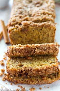 Enjoy all the flavors and textures you love about coffee cake and banana bread all in one irresistible cinnamon streusel-covered loaf! /WholeHeavenly/