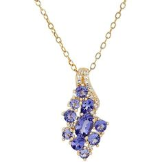 Lord & Taylor Tanzanite, White Topaz and 14K Yellow Gold Cluster... ($538) ❤ liked on Polyvore featuring jewelry, necklaces, gold, 14k necklace, 14 karat gold pendants, 14k gold pendants, gold necklace pendant and gold pendant