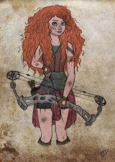 Oh my god, this is SO AWESOME i love her bow and merida and how shes just like an apocalypse survivor! So cool!